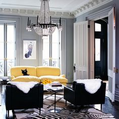 Still liking the yellow and grey/black color idea. Fun Home Design Colors for Spring