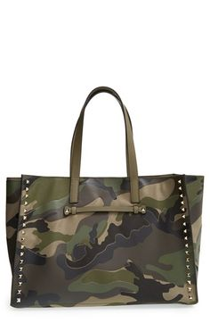 Valentino+Rockstud+Canvas+&+Leather+Camo+Tote+available+at+#Nordstrom