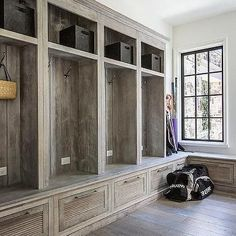 Rustic country mudroom features a wall of built-in lockers with open and closed storage as well as . Rustic country mudroom features a wall of built-in lockers with open and closed storage as well as . Mudroom Cubbies, Garage Storage Shelves, Mudroom Laundry Room, Built In Storage, Kitchen Storage, Laundry Storage, Storage Drawers, Shoe Shelves, Smart Storage