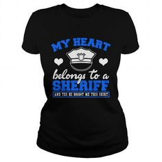 Awesome Tee Valentines Day  My heart belongs to a Sheriff T-Shirts