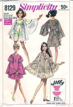 Simplicity 8129 Angel Sleeve Tablecloth Dress Pattern : Vintage Sewing Patterns, Heavens To Betsy Vintage Dress Patterns, Clothing Patterns, Vintage Dresses, Vintage Outfits, 1960s Dresses, Vintage Kimono, 1960s Fashion, Look Fashion, Vintage Fashion
