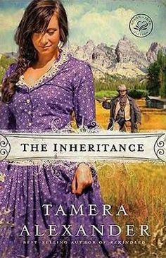 The Inheritance by Tamera Alexander. Gorgeous use of complimentary colors with the purple dress and the golden grass in the background.