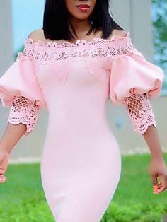 Crochet Lace Insert Puff Sleeve Fishtail Bodycon Dress Classy Dress, Classy Outfits, Dress Outfits, Fashion Outfits, Latest African Fashion Dresses, African Dress, Elegant Dresses, Dress Patterns, Lace Dress