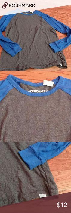 Aeropostale long sleeve shirt Mens aero long sleeve shirt. Gray w blue sleeves. Aeropostale Shirts Tees - Long Sleeve