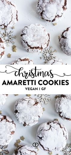 Vegan Chocolate Amaretti Christmas is coming and who doesn& enjoy a delicious cookie? These Vegan Christmas cookies are easy to bake and are the perfect homemade Christmas gift. # The post Vegan Chocolate Amaretti appeared first on Belle Ouellette. Vegan Christmas Desserts, Vegan Christmas Cookies, Christmas Baking, Homemade Christmas, Christmas Biscuits, Vegan Sweets, Vegan Desserts, Vegan Recipes, Dessert Recipes