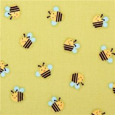 green bee fabric Little Brown Bear Quilting Treasures 3