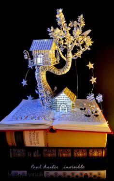 'magic forest' book sculpture
