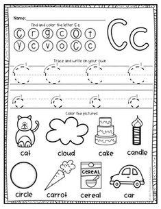 Alphabet Worksheets by Alli's Preschool Adventures Letter C Activities, Jolly Phonics Activities, Letter Worksheets For Preschool, Preschool Writing, Preschool Letters, Alphabet Worksheets, Preschool Learning, Kindergarten Worksheets, Homeschool Kindergarten