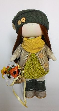 Fabric doll cloth doll textile doll autumn outfit by JuliettaDoll