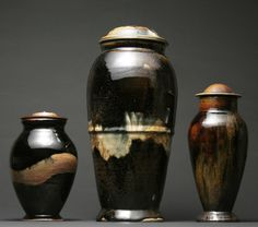 """""""Peak Beam Harbinger, Harbinger of Hope no. 2, and Starry Harbinger"""", 2010 - From left: 10"""" tall, 19"""" tall, 13"""" tall - Cone 10, Stoneware, Gas/Reduction/Salt Fired, Rutile Stain, Red Iron Oxide Stain, Tenmoku Glaze."""