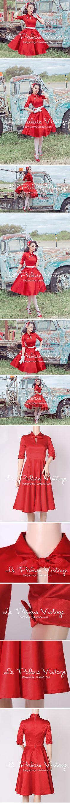 le palais vintage限量复古红色领结修身50年代蓬蓬裙 0.7-淘宝网全球站