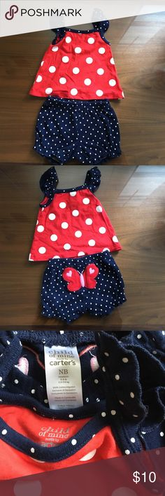 New born summer outfit. Tank top and shorts. Butterfly on the bottom. Wrong season given as a gift. My little girl was born in December never worn. Carter's Matching Sets