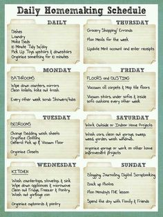 Home making schedule
