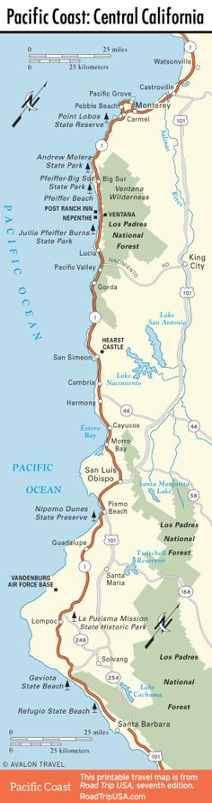 Map of Pacific Coast through Southern California Travel