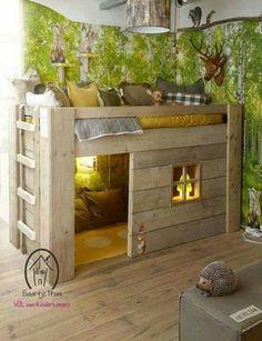 Véritable petit coin de paradis pour les enfants, ce lit cabane fera bien des heureux. Et si vous êtes un peu bricoleur, fabriquez le vous-même et vous deviendrez son héros ! #enfant #diy #deco