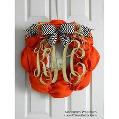 Fall Burlap Wreaths with Monogram Initials - Fall Wreath - Front Door Halloween Decor -