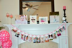 Look Whooo's One Collection: Just Born/0-12 mos Mini Banner with attached clips to hang 4x6 pictures. Owl First Birthday photo banner.