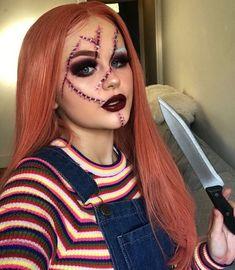 Fantasias Halloween - - Festival make up - Halloween Ideas Chucky Halloween, Cute Halloween Makeup, Halloween Inspo, Scary Halloween Costumes, Halloween Looks, Diy Chucky Costume, Scary Chucky, Halloween Hair, Halloween 2019