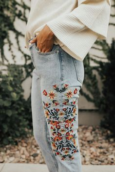 Bright Floral Embroidery on Jeans | ROOLEE