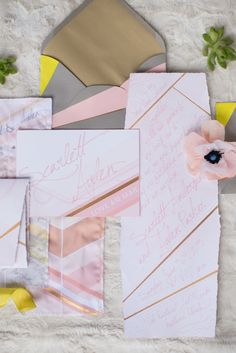 Pink and citron #wedding invitations   LH Photography   see more on http://burnettsboards.com/2014/02/glamorous-creative-love-sweet-shoot/
