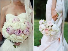 White & Pink Peony Bouquets