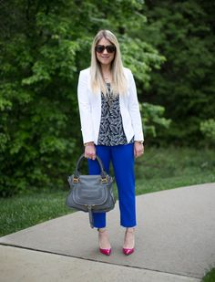 Blue, White, Pink Spring Work Outfit