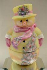 Fenton FAIRY LIGHT LAMP YELLOW BURMESE SATIN Snowman w Floral OOAK freeUSAshp