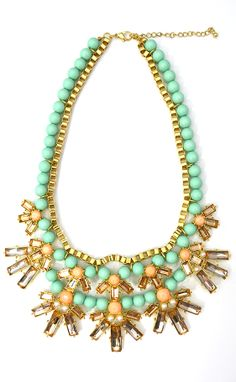 Mint bead necklace! https://belleboutiquenwa.com/accessories/jewelry/mint-and-peach-statement.html #xoxoBelle #statementnecklace #beadnecklace #fashion