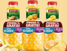 Prueba gratis 1L de Granini y hasta 10.000 euros en premios Granini vuelve otra vez más con su promoción de probar gratis 1 litro de sus zumos, en este caso para sus variedades de melocotón, piña y naranja. Pero esta vez además de poder conseguir probar gratis sus zumos, puedes tener la oportunidad de ganar premios en metálico de  hasta nada menos que 10.000 euros http://www.sorteosyregalosgratis.com/prueba-gratis-1l-de-granini-y-hasta-10-000-euros-en-premios