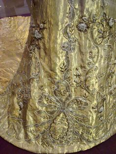 1906.  Detail of embroidery on Queen Maud's coronation dress.