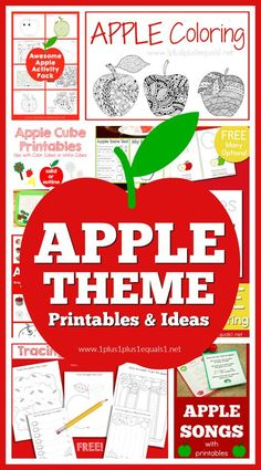 Plan an awesome APPLE THEME for your classroom or homeschool! Loads of free printables and ideas! Apple Unit, Apple Books, Apple Activities, Apple Games, Apple Song, Apple Coloring Pages, Improve Writing Skills, Apple Theme, Lesson Planner