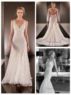 Elegant Beaded Straps Plunging V-neck Lace Wedding Dresses with Square   Open Back http://www.ckdress.com/elegant-beaded-straps-plunging-vneck-lace-  wedding-dresses-with-square-open-back-p-2028.html  #wedding #dresses #dress #lightindream #lightindreaming #wed #clothing   #gown #weddingdresses #dressesonline #dressonline #bride