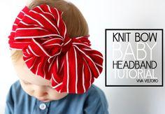 knit bow baby headband tutorial