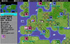 This is an image of gameplay from the original Civilisation. Players must develop their civilisation from 4000 BC throughout time towards the Space Age. They must also battle with rivalling civilisations that were apparent in history at the year they were playing, e.g. Julius Caesar. Strategies must be produced whilst considering Political, Scientific, Economical and Military aspects of their civilisation.
