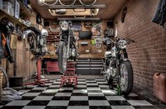 garage motorcycle Sh*t Getting Done Old Garage, Garage Tools, Garage Shop, Garage House, Garage Workshop, Garage Storage, Workshop Ideas, Motorcycle Workshop, Motorcycle Shop