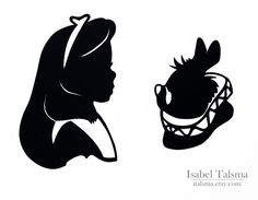 Alice in Wonderland Alice and the White Rabbit Handcut by italsma, $50.00