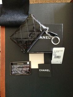 Chanel Pouch with Key Ring in Black Patent