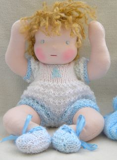 Stanley is a Waldorf  boy doll,all handmade with lavender and orange aromatherapy oil. $120.00, via Etsy.