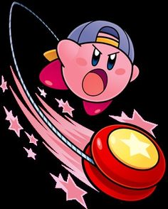 Kirby Hovering While Waddle Dee Hangs On With A Spear