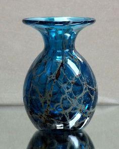 Vase Mdina Malta Glas Kunstglas, Studioglas, Kristall mit Einschmelzungen blau
