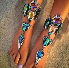 Glamorous Jeweled Barefoot Sandals, Body Kandy Couture