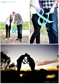 Look for wooden ampersand to paint blue or yellow engagement photo ideas -