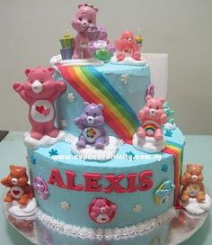 Cupcake Divinity.. Cupcakes fit for divines!: 2 tier Care bears & Alexis birthday cake