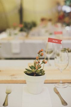 Succulent and place card flags by Seven Swans | Image by Modern Hearts