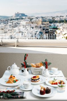 Have you already thought about how you will spend the What would be better than breakfast in the room with a view of the ? Christmas Time, Xmas, Holiday, Acropolis, In This Moment, Table Decorations, Breakfast, Room, Home Decor