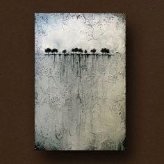 Abstrakter Malerei von Bäumen am Horizont texturierte stark 24