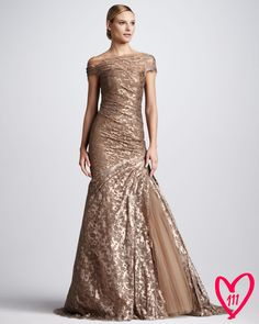 Off-the-Shoulder Lace Gown - Monique Lhuillier ( Formal Gown Gold Patterns Lace Silk Synthetic-blend Evening Asymmetric Short sleeves Draped)