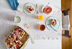 Raspberry and goat cheese breakfast strata