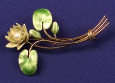 Art Nouveau 14kt Gold and Enamel Lotus Blossom Pin, Krementz & Co.