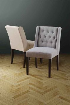 Wing upholstered buttoned dining chair Beige / Grey -  Huxley